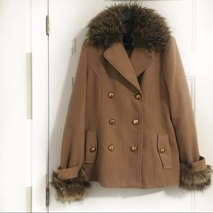 Jackets & Blazers - Tan Pea Coat with Gold Buttons and Fur Collar Cuff